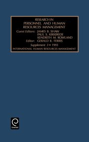 Research in Personnel and Human Resources Management, James B. Shaw B. Shaw